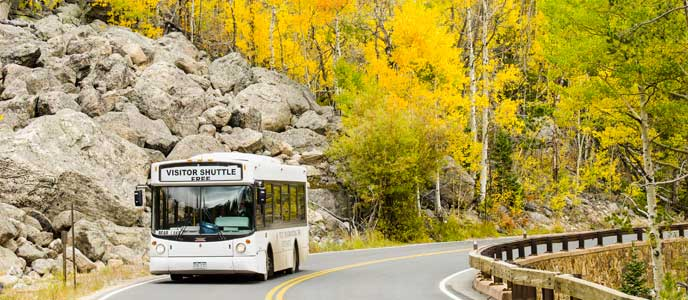 Shuttle bus on road by yellow aspen trees