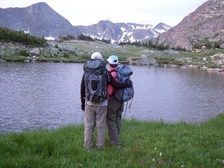 backpackers at unnamed lake 320X240