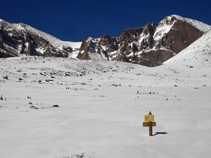 This is an image of the Battle Mountain trail junction on Longs Peak.