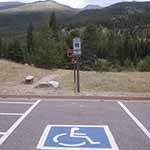Disabled parking space at Storm Pass trailhead