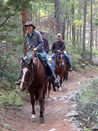 Photo of visitors riding horses along a trail through the forest.