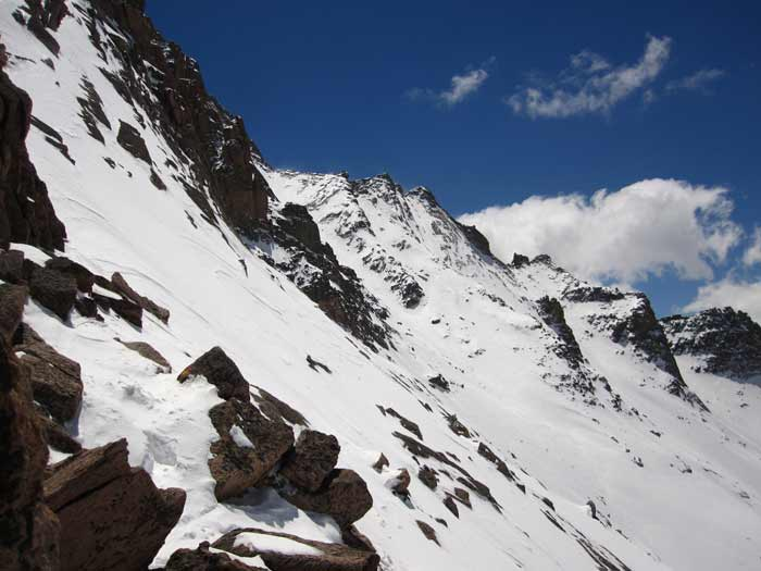 This is a photo of the Ledges area on Longs Peak on May 11, 2013.