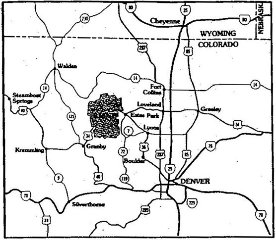 a map of alternate routes to Trail Ridge Road