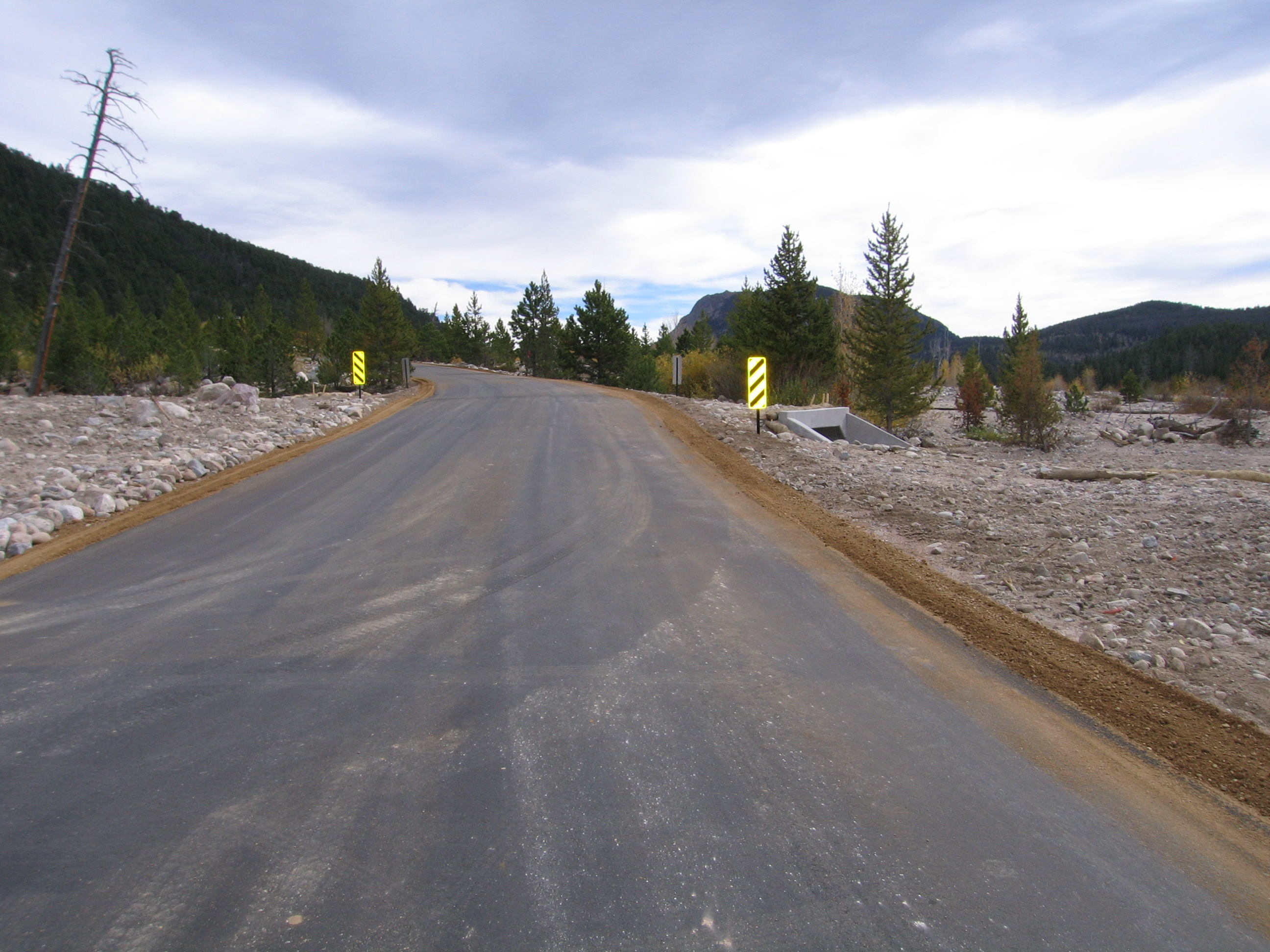 New pavement and culvert near Alluvial Fan