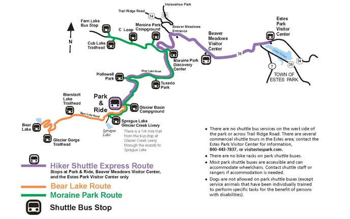 Map of shuttle bus routes along the Bear Lake Road.