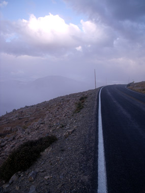 Trail Ridge Road ascending into the fog.