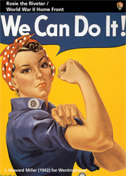 "Trading Card of ""We Can Do it"" poster. Women with red polka dot scarf on head, blue shirt and flexing an arm muscle."