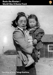 Trading card with Japanese woman and child in the internment camps.