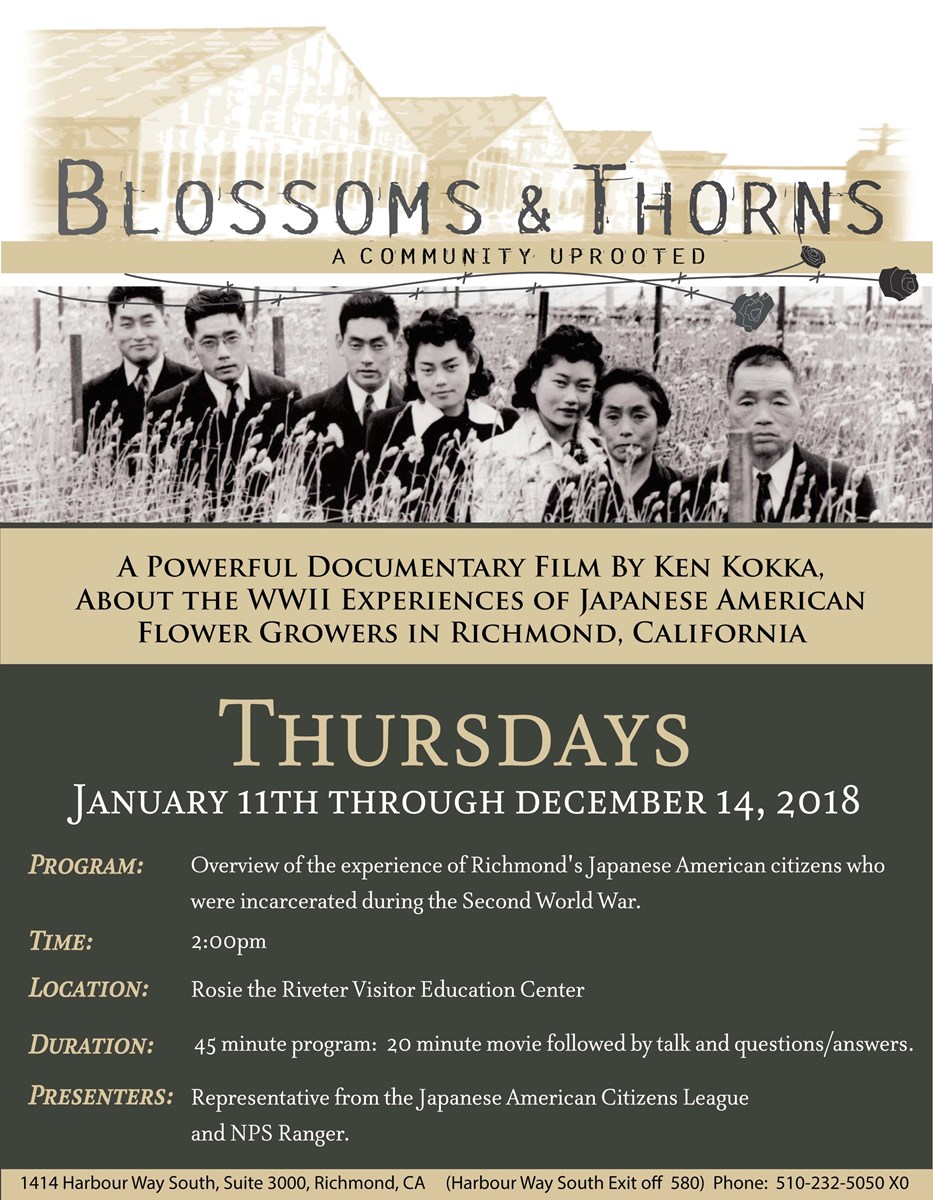 Poster advertising the 2pm program for Blossoms and Thorns