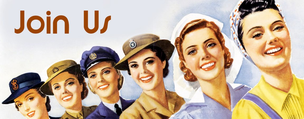 Illustration of WWII era women in various uniforms.