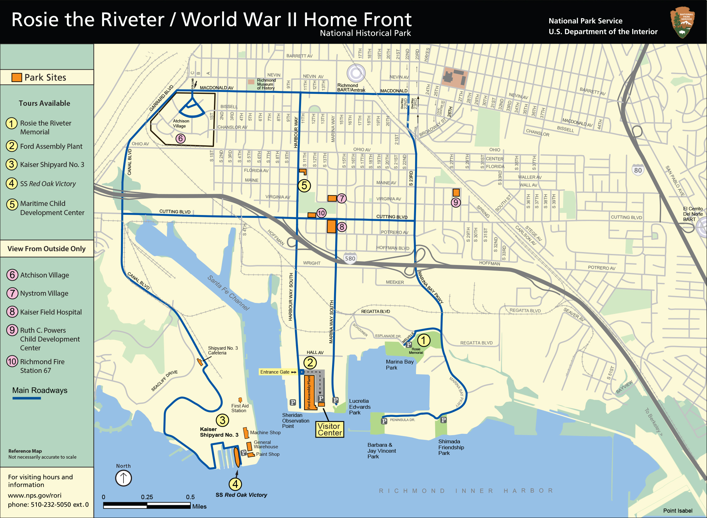 Driving Map for historic sites in Richmond, California.