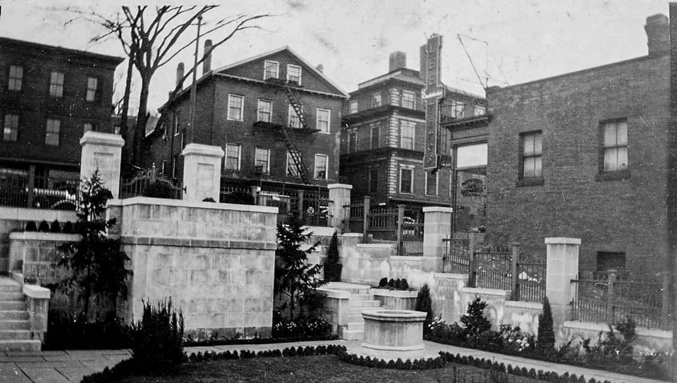 Historic black and white photo of the Hahn Memorial