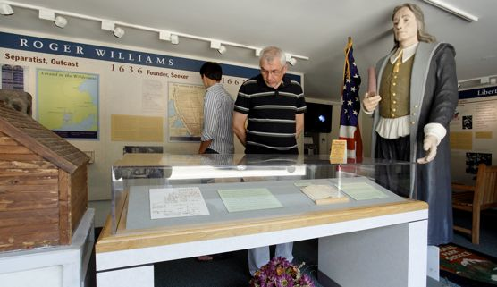Viewing exhibit in Visitor Center