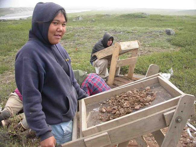 archaeology dig during Nome camp