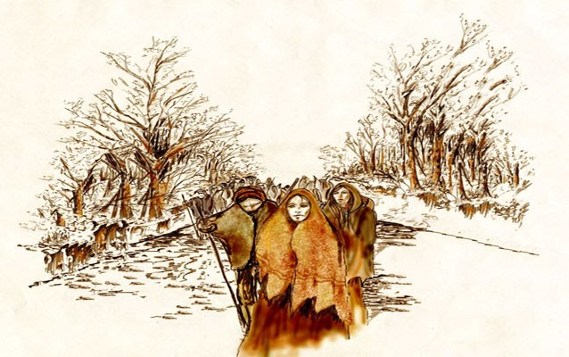 Cherokee Walking the Trail of Tears, by artist Sam Kitts. Source: NPS Trail of Tears Alabama