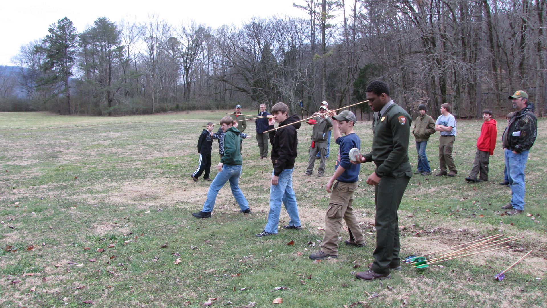 Scouts learning Chunkey