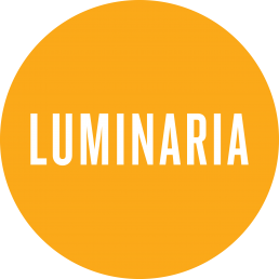 Circular orange logo for Luminaria