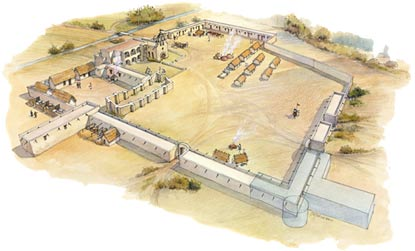 Drawing of Mission Espada's compound