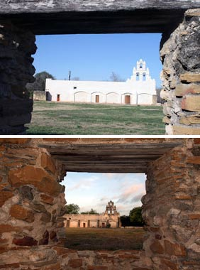 top photo: Mission San Juan after preservation in 2013; bottom photo: before preservation