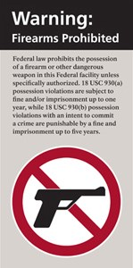 This sign is displayed at the entrance of federal buildings where firearms are prohibited.