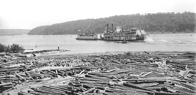 A large paddle-wheel and smaller boats motor on a river filled with logs in the foreground.