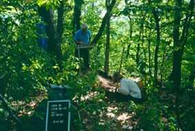 Two archeologists working in woods.  One is sifting dirt the other is carefully digging in the ground.  A sign documents the site.