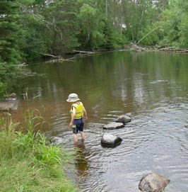 A little boy with a white hat and a yellow lifejacket is wading in the tree lined and rocky river