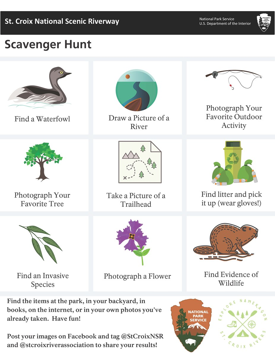 A list of items to find: a Waterfowl, Draw a Picture of a River, Photograph Your Favorite Outdoor Activity, Your Favorite Tree, a Trailhead, and a Flower; Find an Invasive Species, evidence of wildlife, and litter (pick it up if you have gloves).