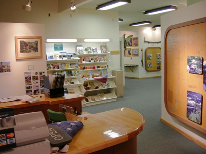 Sales area and desk to left right exhibits