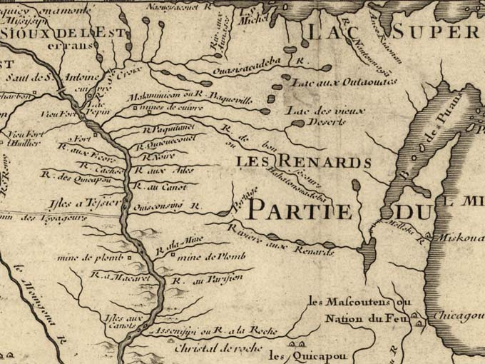 An excerpt of the 1718 map Carte de la Louisiane, by French cartographer Guillaume Delisle, shows the St. Croix and many other rivers of the area in the upper left of the image. Library of Congress photo.