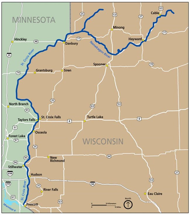 A map of the St. Croix and Namekagon rivers.