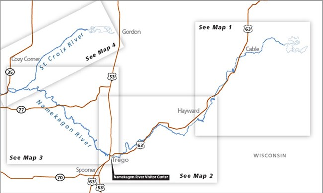 Map of the Namekagon River and the Upper St. Croix River.