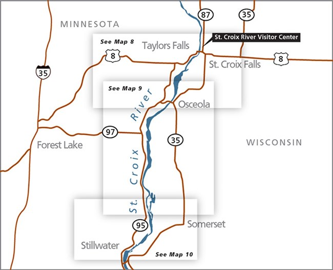 Map of the St. Croix River between Highway 8 and Stillwater, Minnesota.
