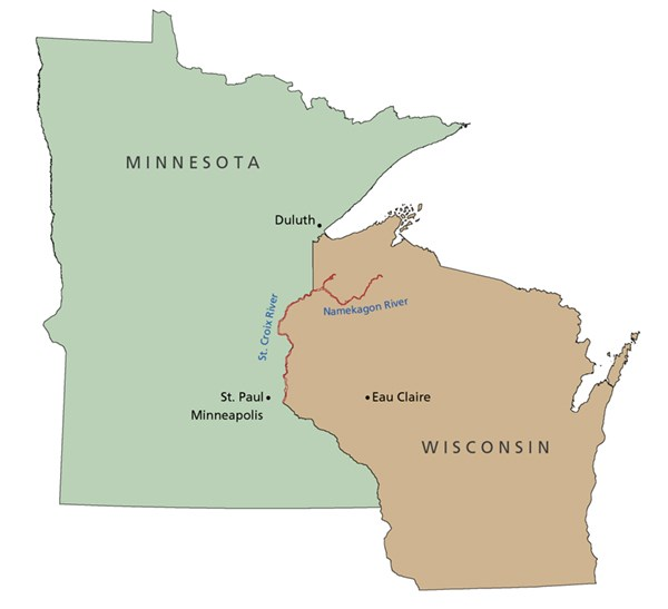 A map shows the location of the St. Croix and Namekagon rivers in Wisconsin and Minnesota.
