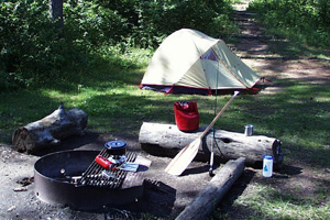 A pitched camp, with a tan tent and camping gear around a fire ring, in a forest.