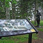Interpretive Trail with exhibit and sculpture.