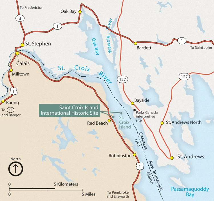 saint croix island international historic site area map