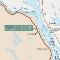 Area map showing location of and routes to Saint Croix Island International Historic Site.