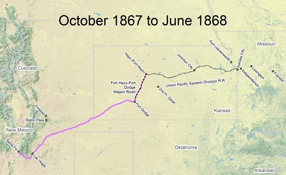 Travel The Trail Map Timeline 1866 1873 Santa Fe National