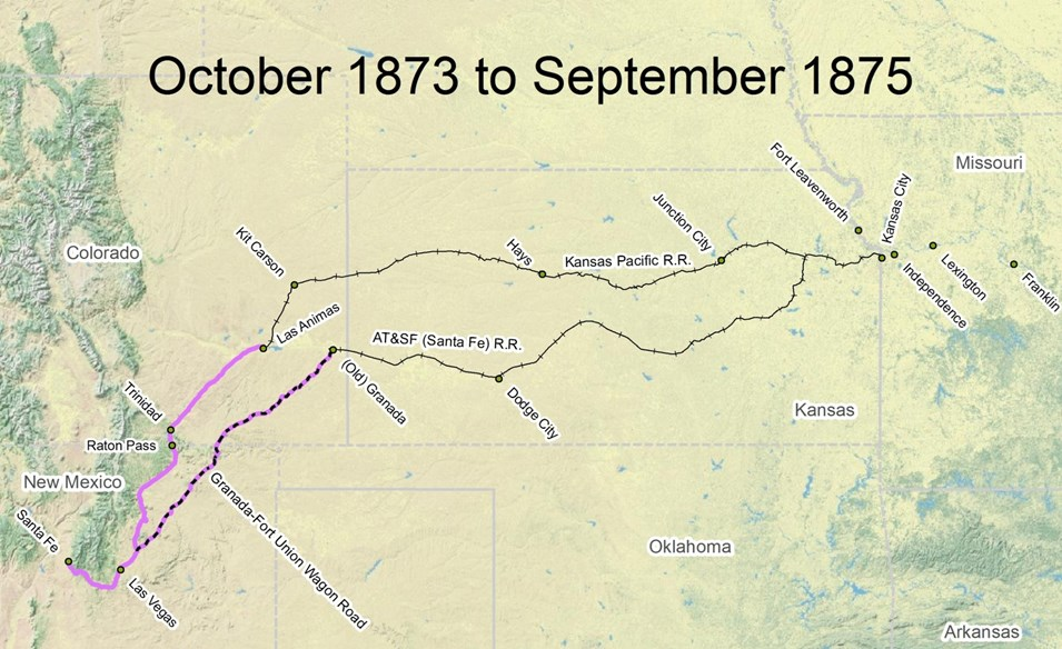 Travel the Trail: Map Timeline 1873 - 1878 - Santa Fe ...