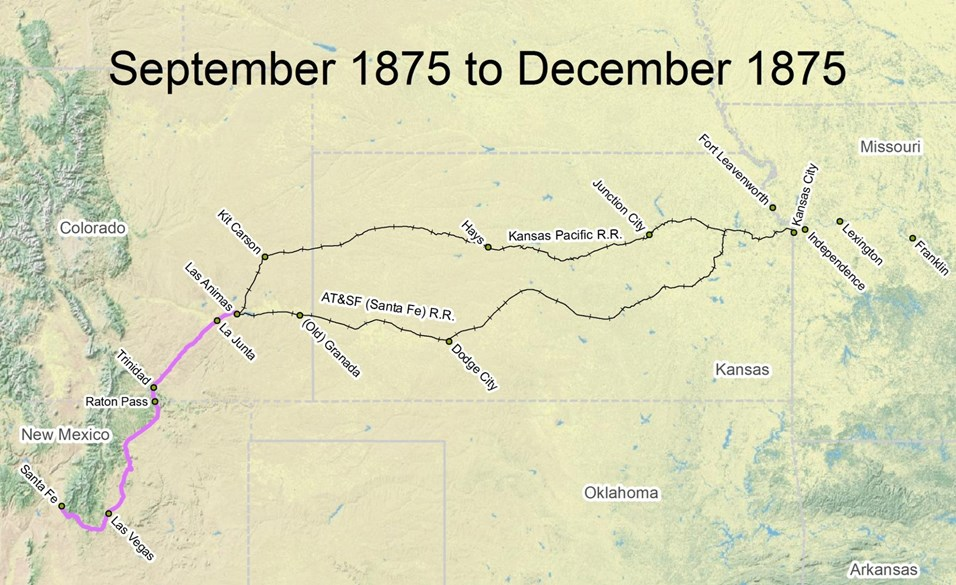map of Santa Fe Trail route from September 1875 to December 1875