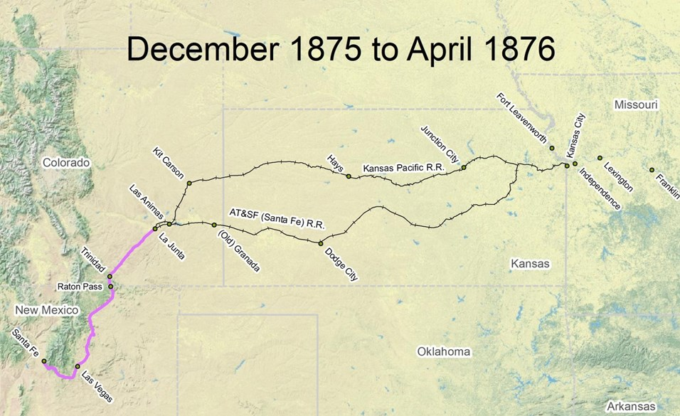 map of Santa Fe Trail route from December 1875 to April 1876