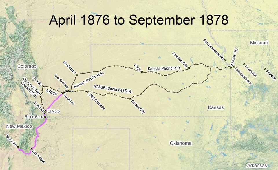 map of Santa Fe Trail route from April 1876 to September 1878
