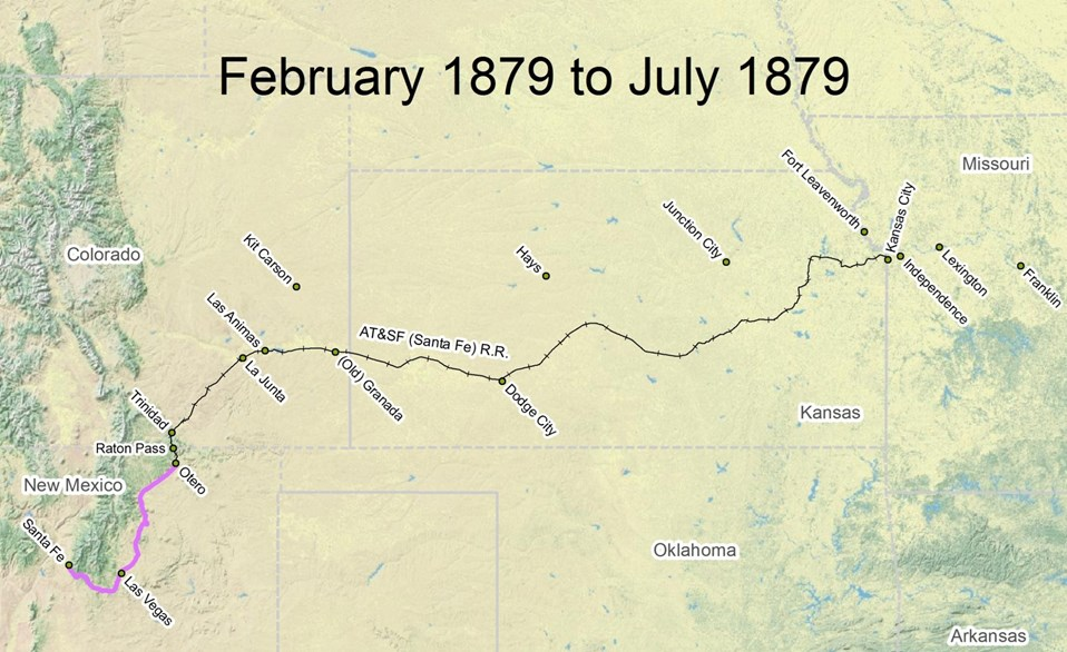 map of Santa Fe Trail route from February 1879 to July 1879