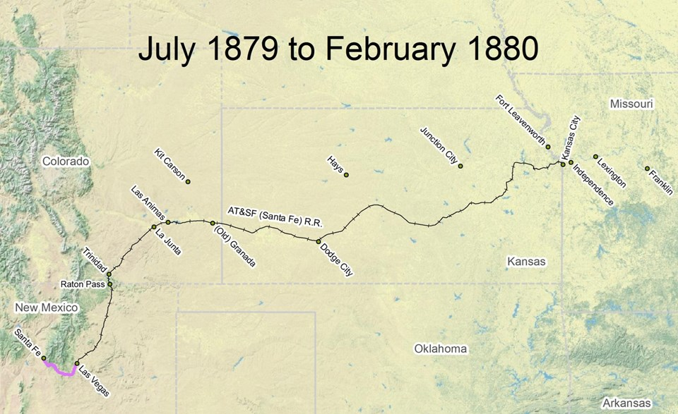 map of Santa Fe Trail route from July 1879 to February 1880