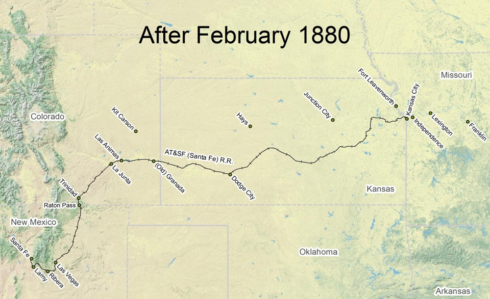 Travel the Trail: Map Timeline 1878 - 1880 - Santa Fe ... on boca raton on us map, helena on us map, greensboro on us map, madison on us map, pikes peak on us map, knoxville on us map, st. louis on us map, savannah on us map, manchester on us map, natchitoches on us map, pierre on us map, new orleans on us map, los angeles on us map, grand rapids on us map, new york on us map, boise on us map, scottsdale on us map, denver on us map, boulder on us map, san antonio on us map,
