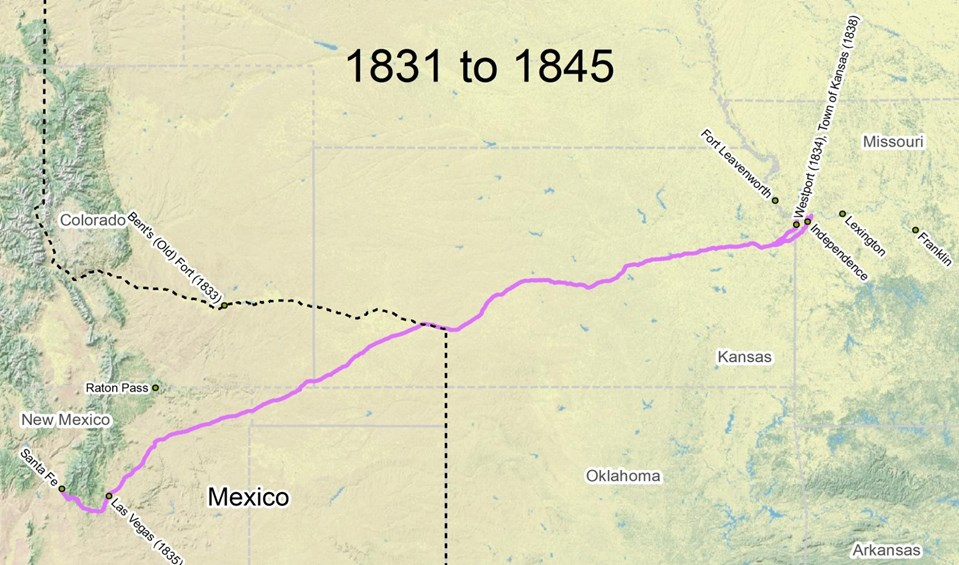 travel the trail map timeline 1821 1845 santa fe national