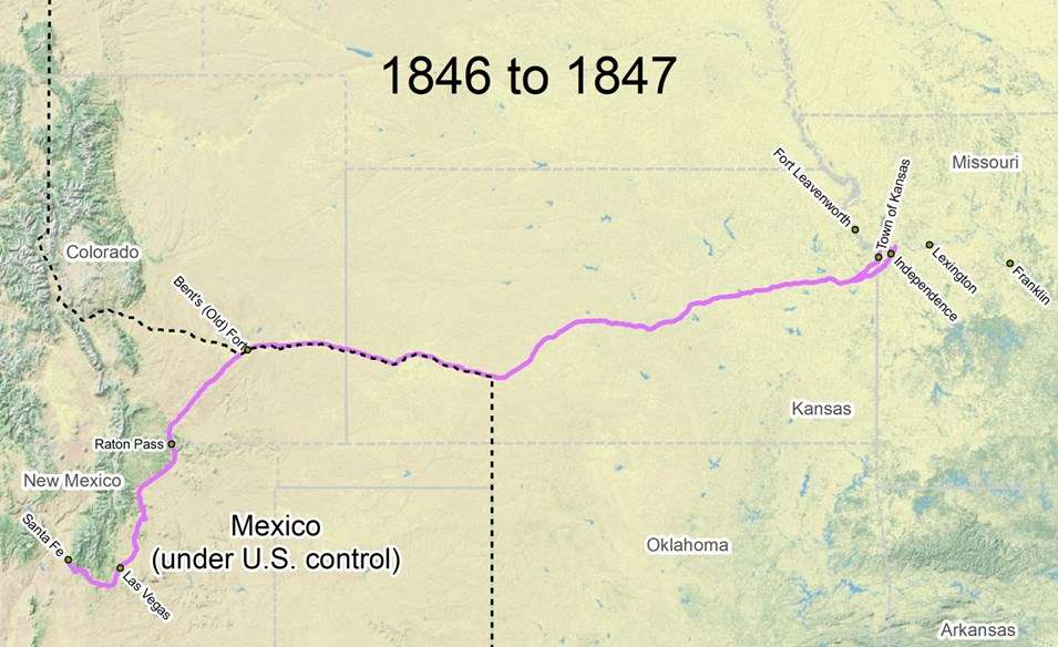 Travel The Trail Map Timeline 1846 1866 Santa Fe National - Santa Fe On Us Map