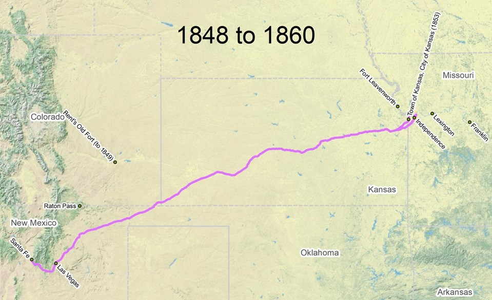 Travel the Trail: Map Timeline 1846 - 1866 - Santa Fe ...