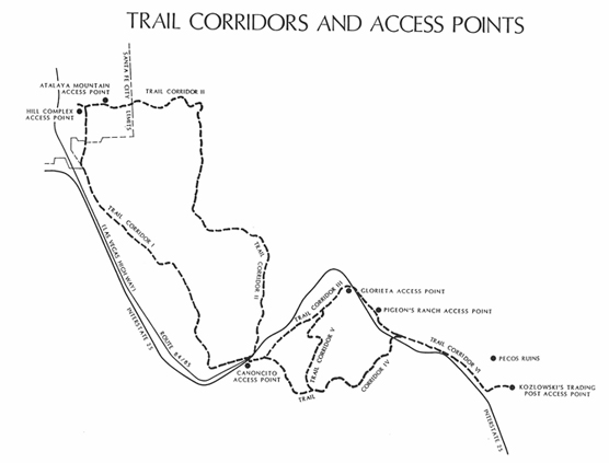 trail corridors and access points map
